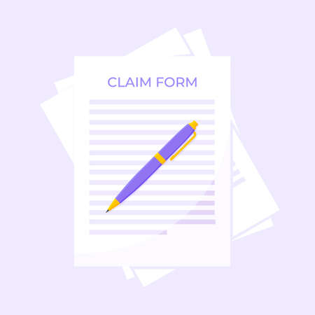 Claim form paper sheets, pen isolated on gray background flat style design vector illustration. Concept of fill out or online survey insurance application form.