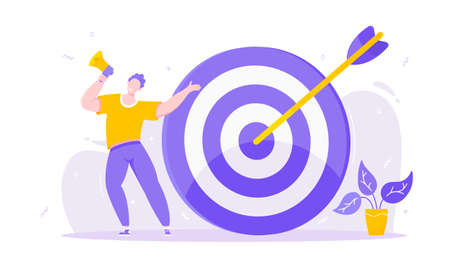 Goal achievemen business concept sport target icon and arrow in the bullseye. Tiny person with megaphone vector banner illustration isolated on white background flat style design.