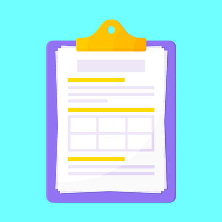 Clipboard with claim form on it, paper sheets isolated on light blue background flat style design vector illustration. Concept of fill out or online survey insurance application form.