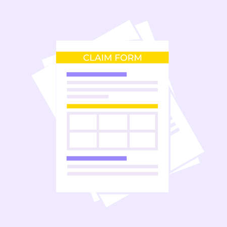 Claim form paper sheets isolated on gray background flat style design vector illustration. Concept of fill out form or online survey insurance application form. Illustration