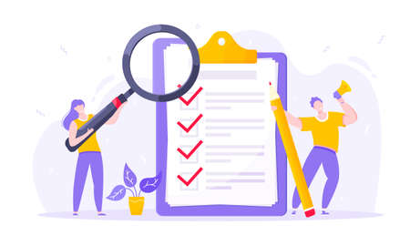 Task done business concept tiny people with megaphone, magnifying glass and pencil nearby giant clipboard checklist and check mark ticks flat style design vector illustration isolated white background Illustration