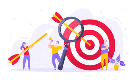 Goal achievement business concept sport target icon and arrows in the bullseye. Tiny persons with megaphone and magnifying glass vector illustration isolated on white background flat style design. 向量圖像