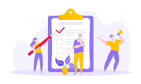 Task done business concept tiny people with megaphone, pencil nearby giant clipboard checklist and check mark ticks flat style design vector illustration isolated white background