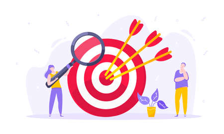 Goal achievement business concept sport target icon and arrows in the bullseye.