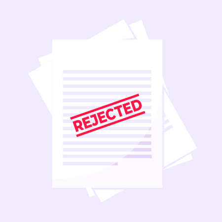 Rejected claim or credit loan form on it, paper sheets and rejected stamp flat style design vector illustration. Concept of denying document, cv resume, insurance application form. Stock Illustratie