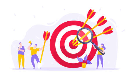 Goal achievement business concept sport target icon and arrows in the bullseye. Tiny persons with megaphone and magnifying glass vector illustration isolated on white background flat style design. Vektorgrafik