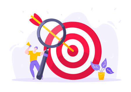 Goal achievement business concept sport target icon and arrows in the bullseye. Tiny person with megaphone and magnifying glass vector illustration isolated on white background flat style design.