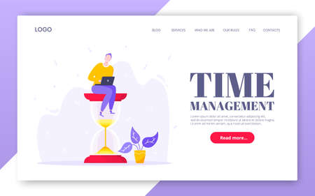 Time management business concept with tiny person sitting on giant hourglass symbol and working on his laptop computer flat style design vector illustration. landing web page template.