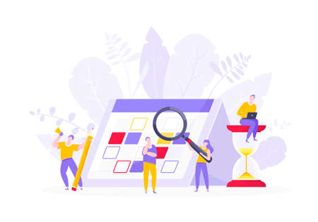 Calendar planning schedule business concept vector illustration. Tiny people with magnifier glass, big hourglass do working plan on day calendar and checks dates. Time management or deadline metaphor.