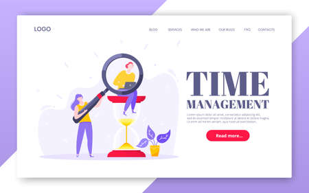 Time management business concept with tiny people, giant hourglass and magnifier symbol working on his laptop computer flat style design vector illustration. landing web page template.