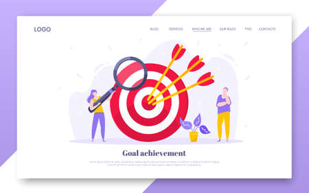 Goal achievement business concept sport target icon and arrow in the bullseye. Tiny people with magnifier vector web landing page template flat style design illustration.