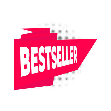 Bestseller big red retro ribbon flat style design vector illustration isolated on white background. Concepts and templates for sale banners and flyers.