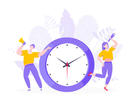 Effective work time management business concept flat style design vector illustration. Tiny people with megaphone and big clock working together. Time management or deadline metaphor. Stock Illustratie