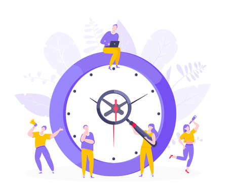 Effective work time management business concept flat style design vector illustration. Tiny people with megaphone and big clock working together. Time management or deadline metaphor.