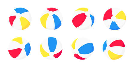 Inflatable beach ball flat style design vector illustration collection set isolated on white background. Retro styled inflatable toy for summer games or holidays.
