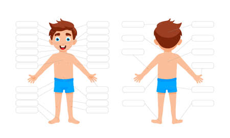 My body poster. Cute kid boy shows his body parts medical anatomy chart placard or poster flat style cartoon vector illustration isolated on white background. 矢量图像