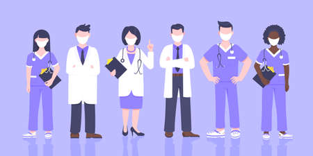 Doctor team medical staff with face masks clinic employee vector illustration isolated on blue background. Hospital or medical clinic staff doctor, surgeon, nurse standing up with equipment.