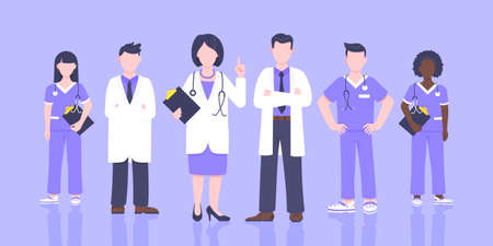 Medical staff doctor team with face masks clinic employee vector illustration isolated on white background. Hospital or medical clinic staff doctor, surgeon, nurse standing up with equipment.