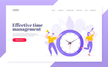 Effective work time management business concept flat style design vector illustration. Tiny people with megaphone and big clock working together. Time management or deadline template.