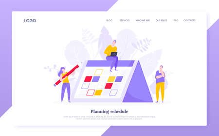 Calendar planning schedule business concept vector illustration. Tiny people with big pencil do working plan on day calendar and checks dates. Time management or deadline template.