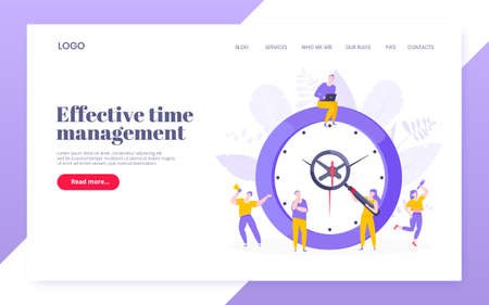 Effective work time management business concept flat style design vector illustration. Tiny people with megaphone and big clock working together. Time management or deadline web, template. 矢量图像