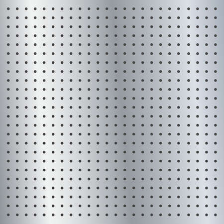 Metallic peg board perforated texture background material with round holes pattern board vector illustration. Wall structure for working tools. 矢量图像
