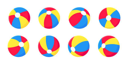 Bouncing inflatable beach ball flat style design vector illustration collection set isolated on white background. Retro styled inflatable toy for summer games or holidays.