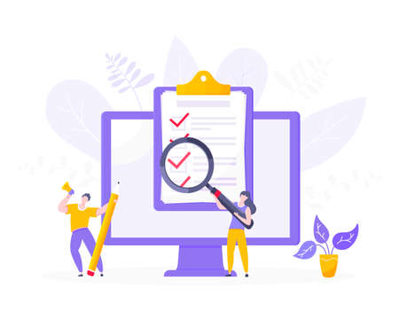 Online survey form or exam application on the monitor screen, claim form, clipboard and tiny people working together. Internet questionnair, online education quiz vector illustration concept metaphor.