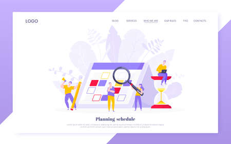 Calendar planning schedule business concept vector illustration. Tiny people with magnifier glass, big hourglass do working plan on day calendar and checks dates. Time management deadline web template