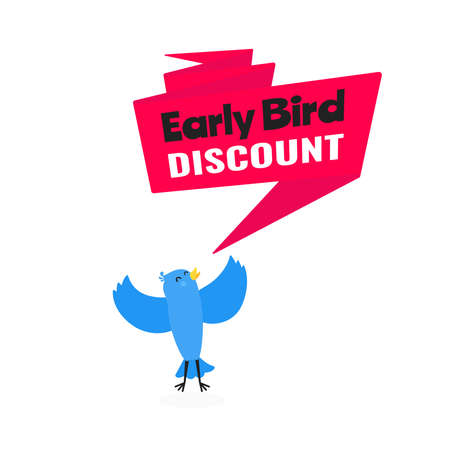 Early bird special offer discount sale event banner flat style design vector illustration. Tiny bird and big ribbon banner with text isolated on white background.