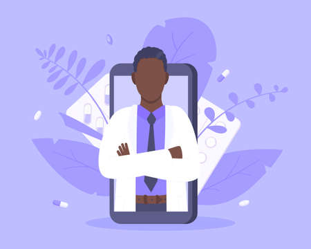 Online doctor medical service concept with doctor in the smartphone vector illustration. Telemedicine web consultation for patients health care check ups and taking medicine prescription pills. 矢量图像