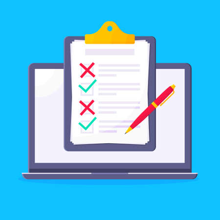 Complete checklist with check marks tick and x popped above the notebook or laptop monitor screen icon vector illustration. Technology concept of online survey isolated on blue background.