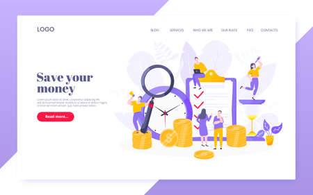Time is money business concept of money saving. Time management, money installment with future growth. Teamwork concept flat style design vector illustration web page template.