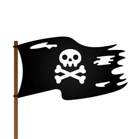 Pirate flag with Jolly Roger skull and crossing bones flat style design vector illustration isolated on white background.