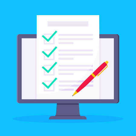 Complete checklist with check marks tick popped above the computer monitor screen icon vector illustration. Technology concept of online survey isolated on blue background.