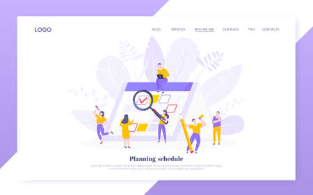 Calendar planning schedule business concept vector illustration. Tiny people with large pencil, magnifier do working plan on day calendar and checks dates. Time management or deadline web template.