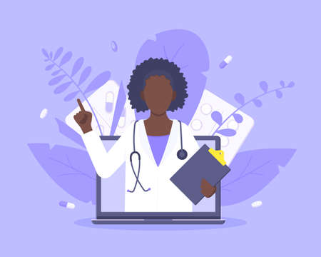 Online doctor medical service concept with doctor in the laptop vector illustration. Telemedicine web consultation for patients health care check ups and taking medicine prescription pills.