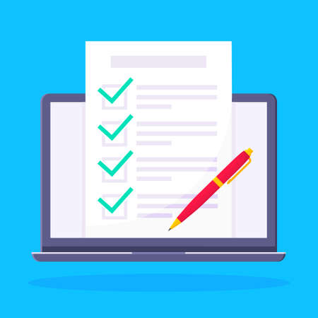 Complete checklist with check marks tick popped above the notebook laptop monitor screen icon vector illustration. Technology concept of online survey isolated on blue background. 矢量图像