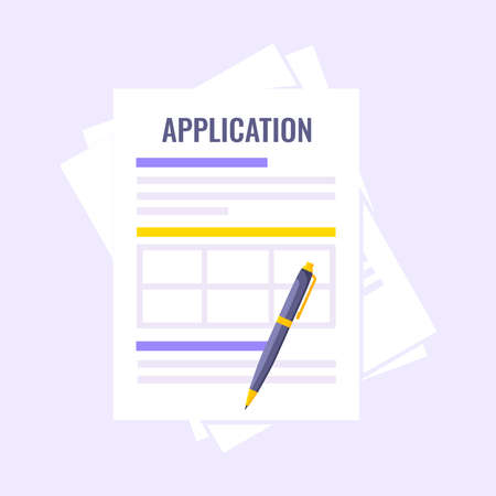 Application document form submit flat style design icon sign vector illustration isolated on light purple background. Complete application or survey document business concept with text contract stamp.