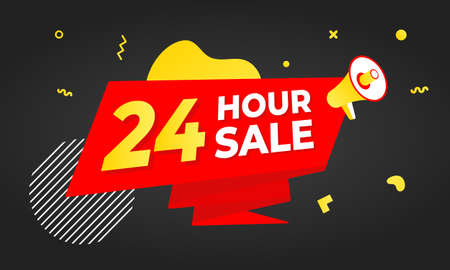 24 hour sale countdown ribbon badge icon sign with big red ribbon, megaphone and abstract elements behind isolated on white background. 矢量图像