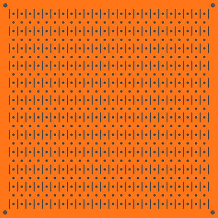 Peg board perforated texture background material with round holes pattern board vector illustration. Wall structure for working tools.