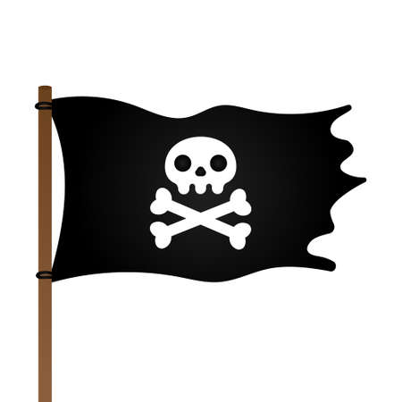 Jolly Roger skull, pirate flag and crossing bones flat style design vector illustration isolated on white background.