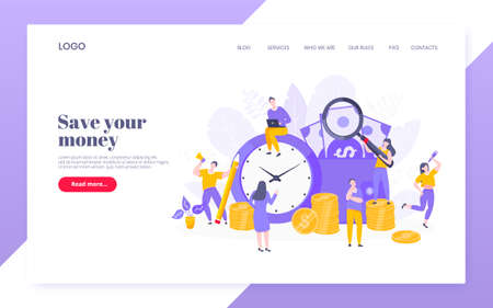Time is money business concept of money saving. Time management, money installment with future growth. Teamwork concept flat style design vector illustration web template.