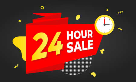 24 hour sale countdown ribbon badge icon sign with big red ribbon, megaphone and abstract elements behind isolated on white background. Vettoriali