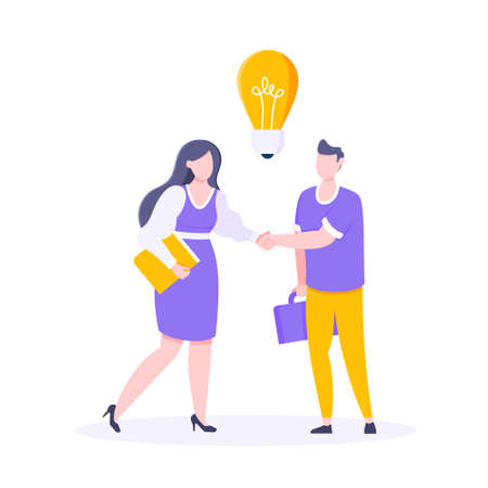 Two people shaking hands together and have an idea flat style design vector illustration. Join our team business concept. 矢量图像