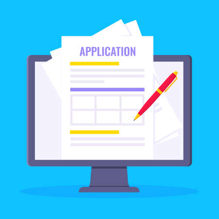 Online application form to fill popped above the computer monitor screen icon vector illustration. Technology concept of online survey isolated on blue background. Vecteurs