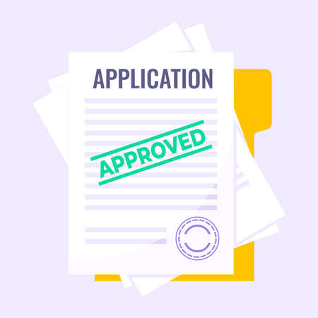 Application document form submit flat style design icon sign vector illustration isolated on light purple background. Complete application or survey document business concept with text contract.