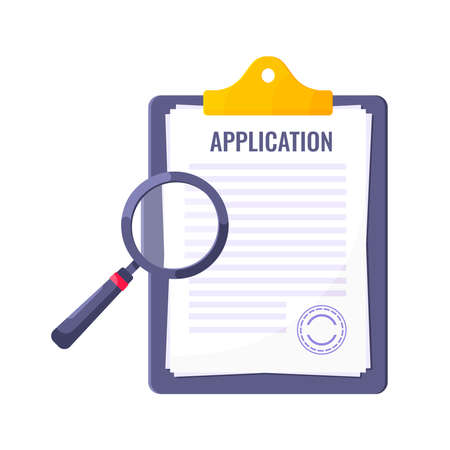 Application submit document form flat style design icon sign vector illustration isolated on white background. Complete application or survey document business concept with text contract stamp. Vettoriali