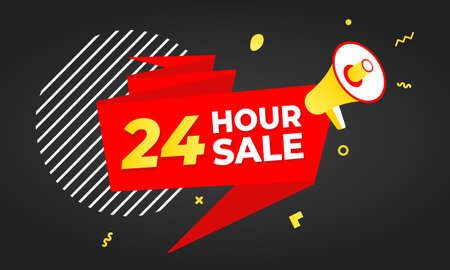 24 hour sale countdown ribbon badge icon sign with big red ribbon, megaphone and abstract elements behind isolated on white background. Illusztráció