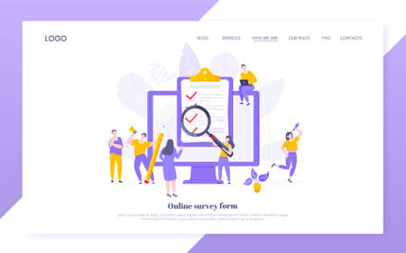 Online survey form or exam application on the monitor screen, claim form, clipboard and tiny people working together. Internet questionnaire, online education quiz vector illustration web template.